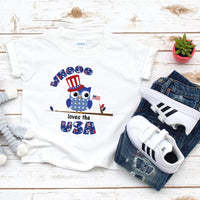 Patriotic Owl Whooo Loves The USA Sublimation Transfer
