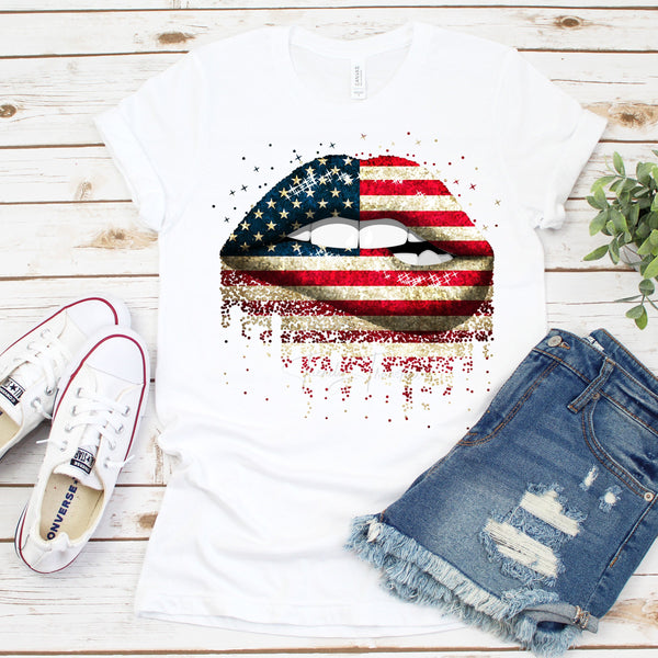 Patriotic Dripping Lip Bite USA Red White and Blue Flag Sublimation Transfer
