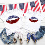 Patriotic Lips Adult Screen Print Heat Transfer