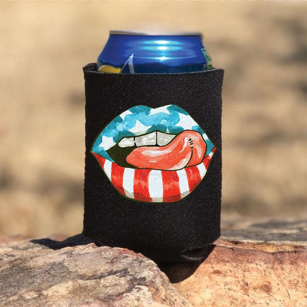 Patriotic Lips Can Hugger Screen Print Heat Transfer