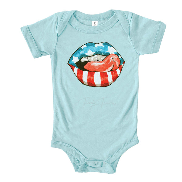 Patriotic Lips and Tongue Infant screen Print Heat Transfer