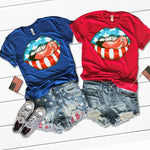 Patriotic Lips and Tongue Adult Screen Print Heat Transfer