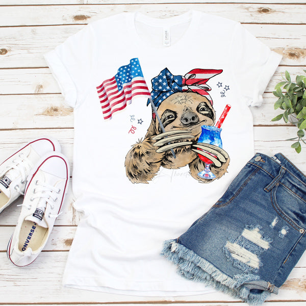 Patriotic Sloth Womens woman Female Mom mommy and me Sublimation Transfer