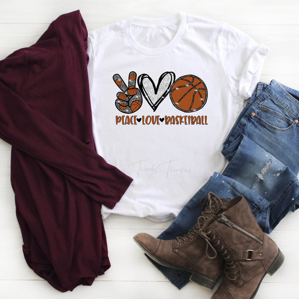Peace Love basketball heart glitter Sublimation Transfer