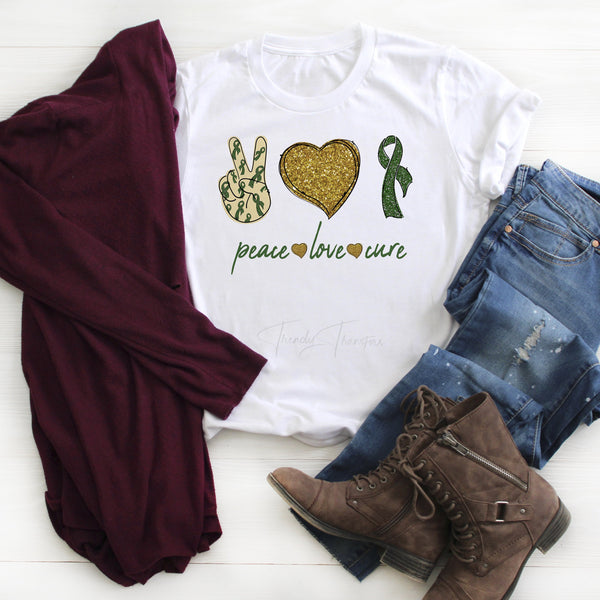 Dark green Ribbon Awareness Glitter heart Peace Love cure Sublimation Transfer