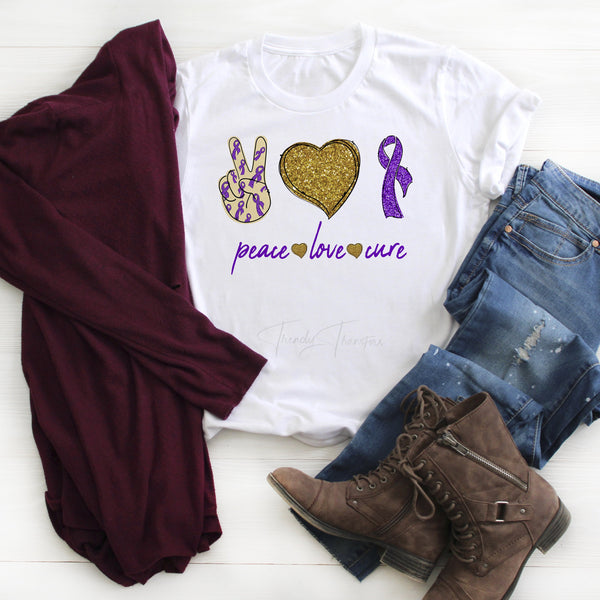 Purple Ribbon Awareness Glitter heart Peace Love cure Sublimation Transfer