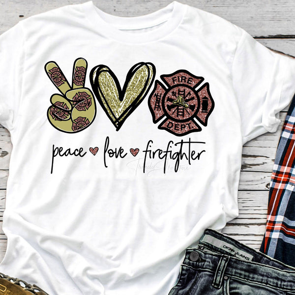 Peace Love Firefighter glitter heart Sublimation Transfer