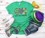 Mardi Gras Peace Love King Cake Screen Print Heat Transfer