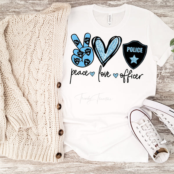 Peace Love Officer glitter heart Sublimation Transfer