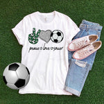 Peace Love Soccer heart glitter Sublimation Transfer