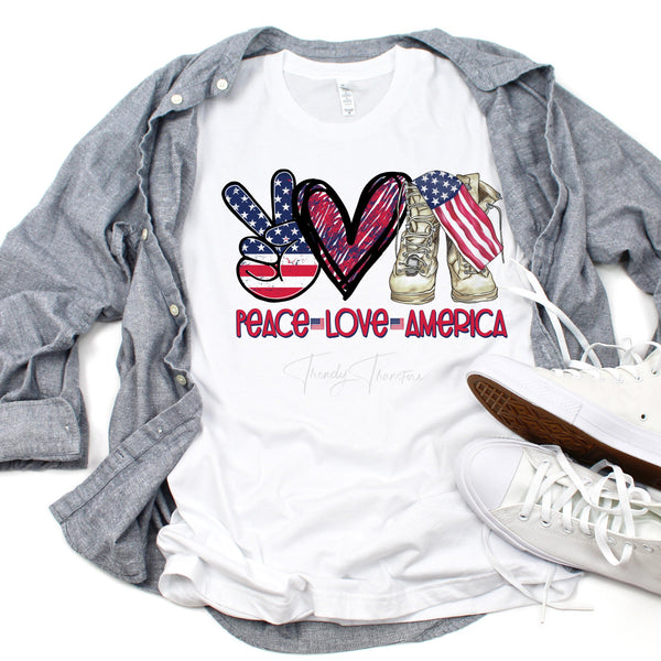 Peace Love America Military Boots Flag Patriotic Memorial day 4th of july independence day Sublimation Transfer
