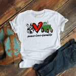 Peace love farm life tractor glitter heart cow print Sublimation Transfer