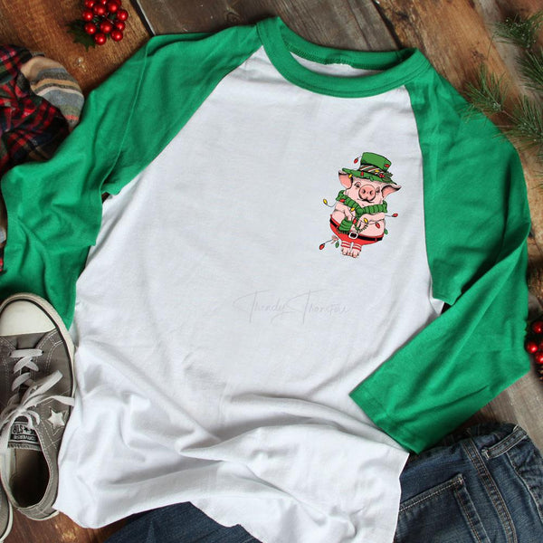 Christmas Piggie POCKET Screen Print Heat Transfer