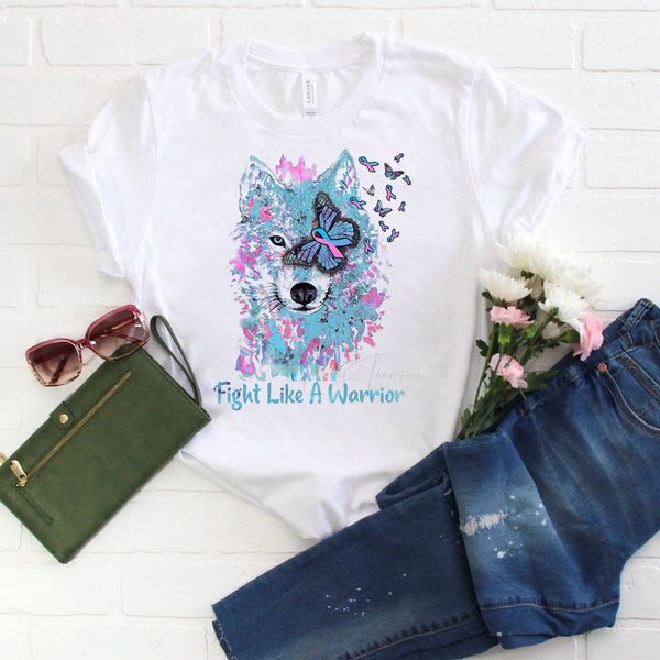 Pink and Blue Ribbon Awareness Wolf Watercolor Sublimation Transfer