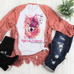 Pink Ribbon Breast Cancer Awareness Wolf Watercolor Sublimation Transfer