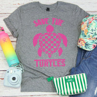 VSCO Neon Pink Save the Turtles Screen Print Transfer