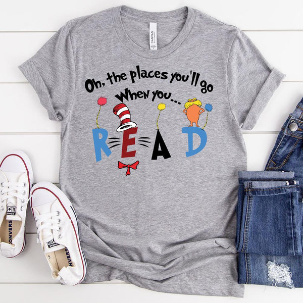 Oh The Places You'll Go Dr. Seuss ADULT Screen Print Heat Transfer