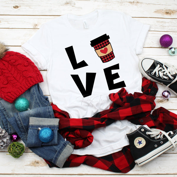 LOVE Coffee Plaid Word Art Sublimation Transfer