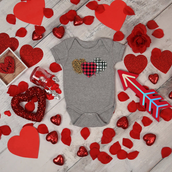 Plaid and leopard hearts Infant or Coozie  Screen Print Heat Transfer