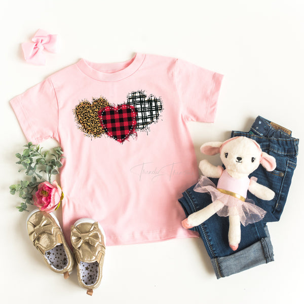 Plaid and leopard hearts YOUTH Screen Print Heat Transfer
