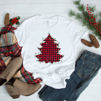 Plaid Christmas Tree with Lights Sublimation Transfer