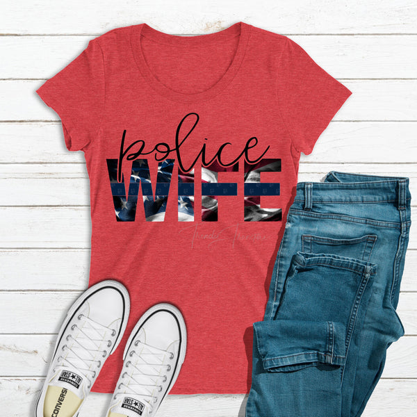 Police Wife Screen Print Heat Transfer