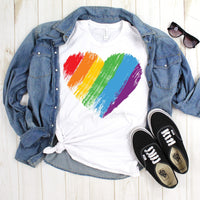 Brush Stroke Watercolor Rainbow Heart Pride Sublimation Transfer