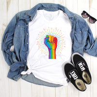Pride Fist Rainbow Burst Sublimation Transfer