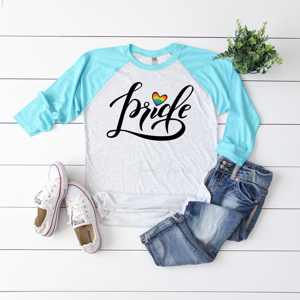 Pride Text Rainbow Heart Sublimation Transfer