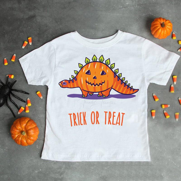 Pumpkin Stegosaurus trick or treat dino Sublimation Transfer
