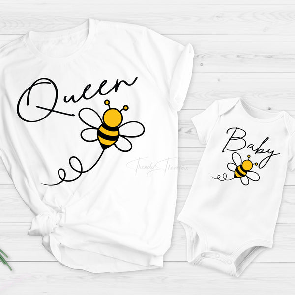 Queen bee mommy and me honey bee Sublimation Transfer