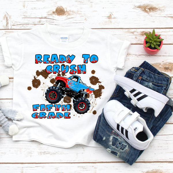 Back to school Monster truck crush the fifth grade Sublimation Transfer