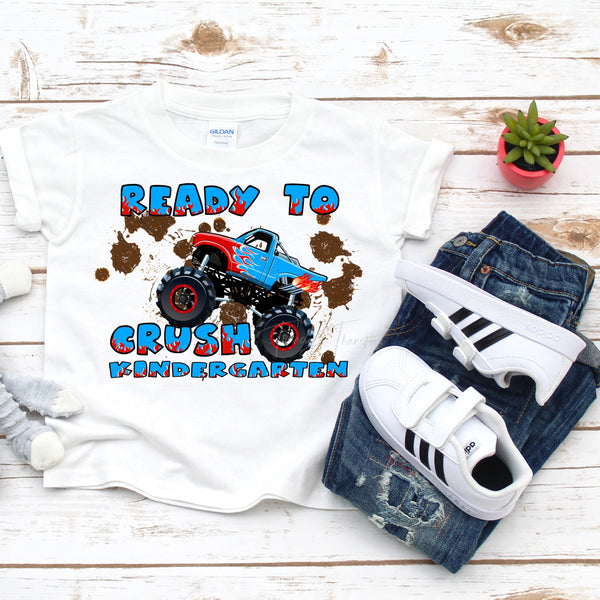 Back To School Monster Truck Crush Kindergarten Sublimation Transfer