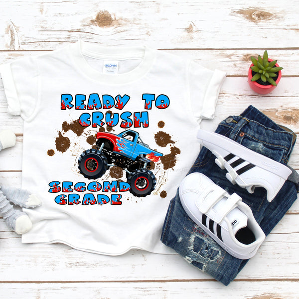 Back to school monster truck crush the second grade Sublimation Transfer