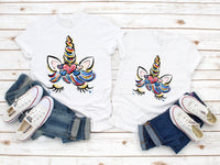 Patriotic Red White and Blue Glitter Effect Unicorn Head Sublimation Transfer