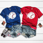 Splatter Baseball Metallic Red Stitches Screen Print Heat Transfer