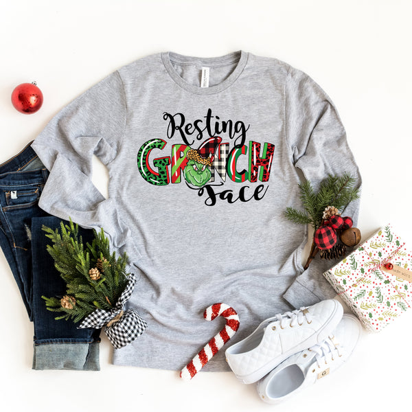 Resting Grinch Face Screen Print Heat Transfer