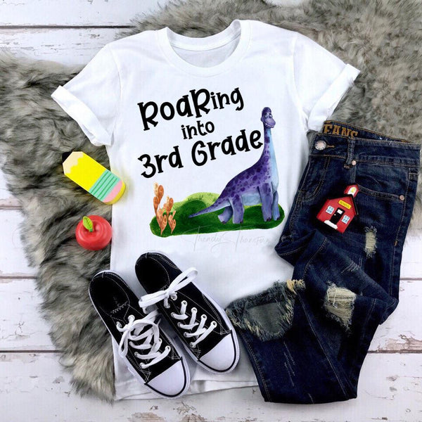 Roaring Into 3rd Grade Dinosaur Back To School Sublimation Transfer