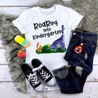 Roaring Into Kindergarten Dinosaur Back To School Sublimation Transfer