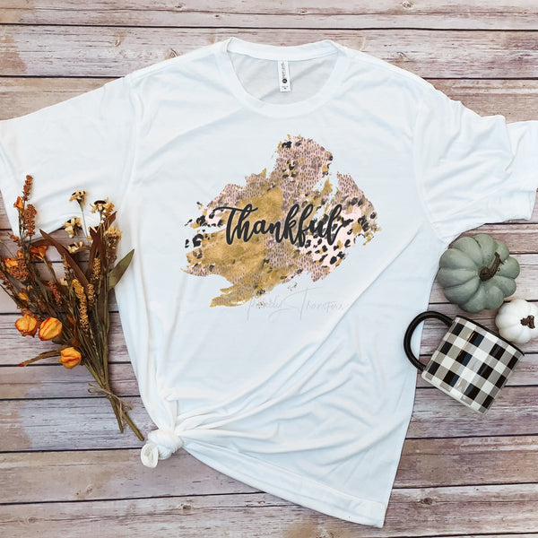Thankful word art fall colors rose gold leopard pattern Sublimation Transfer