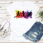 Watercolor Running Jogging Sprinting Silhouette Sublimation Transfer