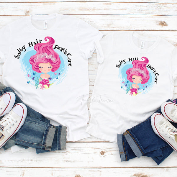Salty Hair Don't Care Mermaid Summer Sublimation Transfer