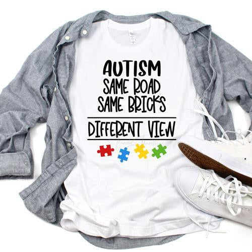 Autism Awareness Same Road Different Views Sublimation Transfer