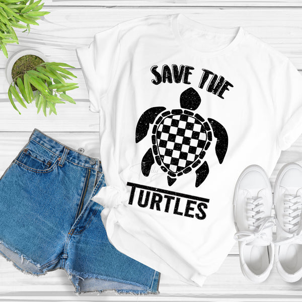 Save the Turtles Retro Vintage Sublimation Transfer