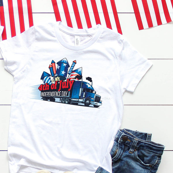 Semi Truck of Fireworks Independence Day Patriotic 4th of July Sublimation Transfer