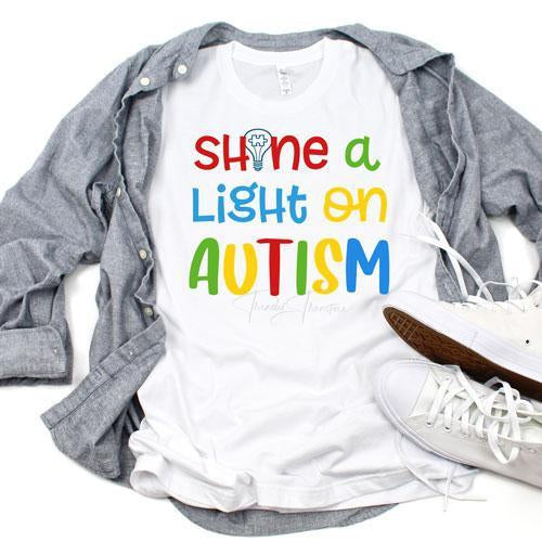 Autism Awareness Shine A Light Sublimation Transfer