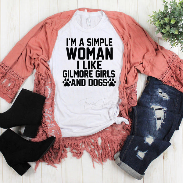 I'm a Simple Woman I Like Gilmore Girls and Dogs Fan Art Sublimation Transfer