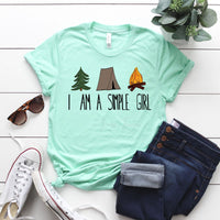 Camping I Am A Simple Girl  Screen Print Heat Transfer