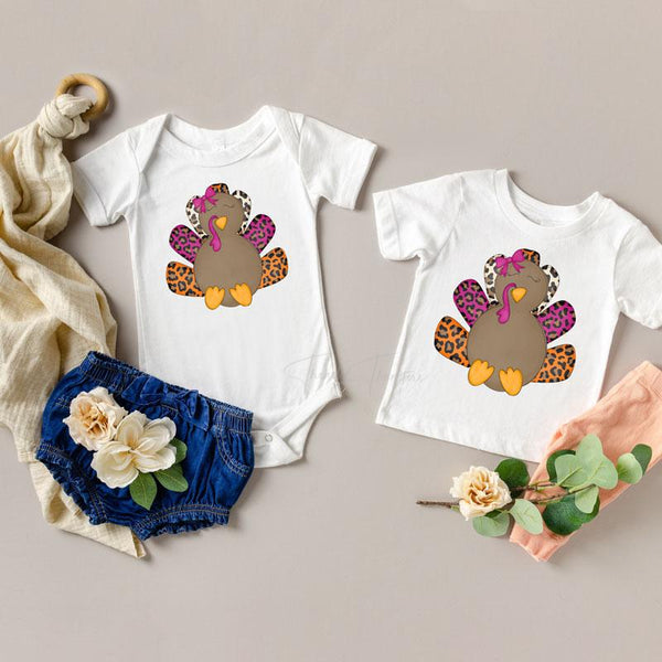 Cute Turkey Youth and Infant Screen Print Heat Transfer