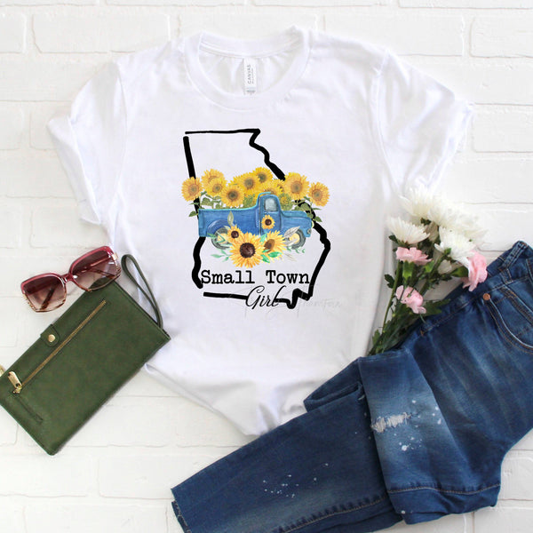 Small Town Girl Sunflower Vintage Classic Truck Georgia Sublimation Transfer